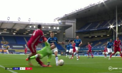 Jordan Pickford challenge on Liverpool's Virgil van Dijk